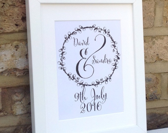 Personalised couples framed print 10x7. Any colour font. Add message/names and date. Wedding, anniversary, Wall art, border-with/without