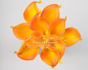 Natural Real Touch Orange Calla Lilies for Wedding Bridal Bouquet Home Decoration Centerpieces
