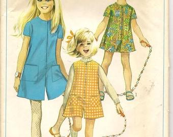 60s Vintage Simplicity 7406 Girls Pant dress Pant Jumper Sewing Pattern Size 2