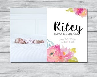 Floral Birth Announcement, DIY Announcement, Digital Birth Announcement, Custom Birth Announcement, Watercolor Announcement, Baby Girl