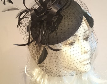 Black Satin Fascinator With Swirls & Feathers- Wedding Races-Ascot-Derby Day