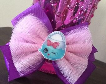 """SHOPKINS """"Handbag Harriet"""" glitter tulle hair bow"""