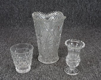 "Vintage Lot Of 3 Pressed Glass Vases 3 3/8"" Sawtooth Rim 4 3/8"" & Tall 7 1/8"""