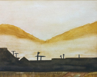 Wheat Fields - Print of an original watercolor on paper painting.