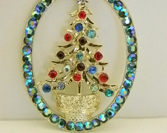 Large Round Christmas Tree Holiday Multi Colored Crystal Pendant Necklace