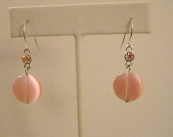 Pink Crystal Dangle Pierced Earrings