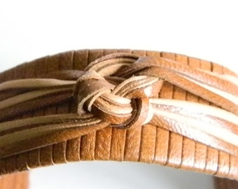 Hand Made Brown & Tan Leather Cuff Bracelet