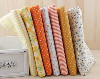 1 Lot of 100% Plain Cotton/Size: 50*50cm/DIY Handmade Fabric Supply/Orange and White