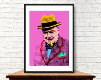 Pop Art Portrait - Winston Churchill (A4, 21cm x 29.7cm)