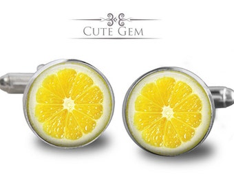 SUPER SALE - Lemon Slice - Silver Glass Cufflinks