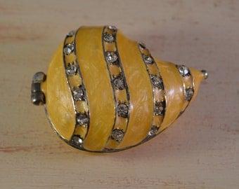 Vintage brass, jewelry box,miniature,shell figure enamel