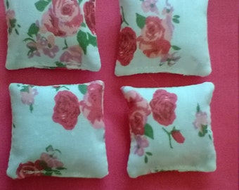 Miniature 1 12th scale dolls house cushions set of 4.