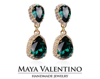 Emerald earrings, Chandelier earrings, 14K Gold earrings, Prom jewelry, Bridesmaid gift, Gift for her, Fancy Stone earrings, Prom earring.