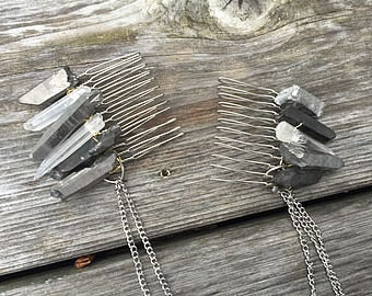 Double Quartz Stone Hair Comb