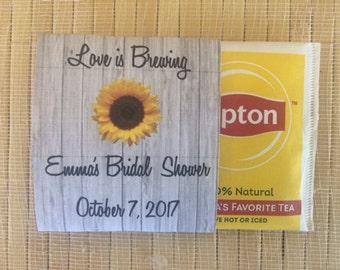 Wedding Tea Bag Favors, bridal shower tea party favors, tea packets, tea pot favors, sunflower wedding favors, sunflower tea packets