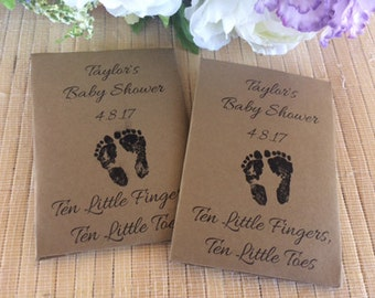 Seed Packet Favors, baby footprint, baby feet, baby footprint favors, kraft baby shower favors, footprints in the sand, footprints