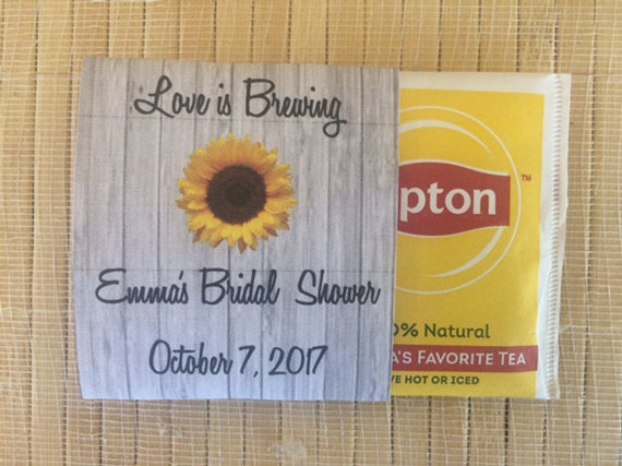40 Wedding Tea Bag Favors, bridal shower tea party favors, tea packets, tea pot favors, sunflower wedding favors, sunflower tea packets