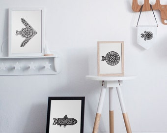 Modern Lace Fish Posters