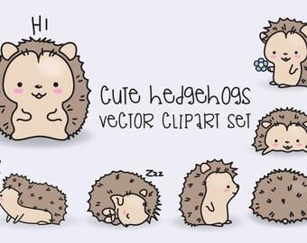 Premium Vector Clipart - Kawaii Hedgehogs - Cute Hedgehogs Clipart Set - High Quality Vectors - Instant Download - Kawaii Clipart