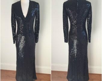Couture Vintage BILL BLASS Maxi Gown NAVY Dress + Black Sequins V Neckline S M