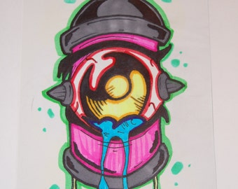 Pink, Gray and Blue Graffiti Style Spray Paint Can Wall Art 8x10 done in Sharpie Ink OOAK