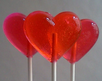 10 Heart Lollipops, Hard Candy Lollipops, Custom Lollipops, Candy Buffet, Candy Table