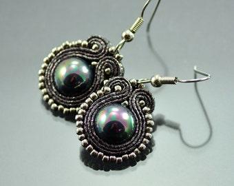 Small Graphite Soutache Earrings Pirate's pearls - Gray Earrings - Silver Pearl Earrings - Small Dangle Earrings - Pearl Soutache Earrings