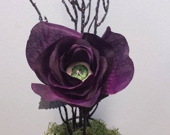 Hand painted eye inside purple rose
