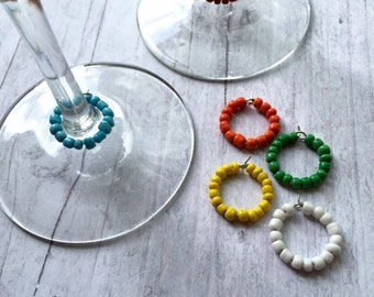 Rainbow wine charms, colorful wine charms