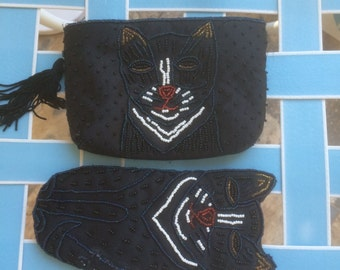 Purse and Glasses Case Small Beaded Cat Purse Evening Bag