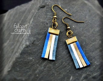 earrings,dangle earrings,faux suede,blue grey white,faux suede dangle earrings,antique bronze,female gift,blue and white,handmade dangle