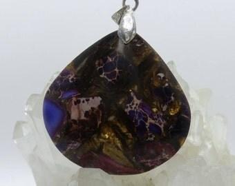Sea Sediment Jasper with Pyrite pendant.