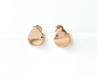 Earrings drops, plated pink gold 750/000 - flea drops golden - triangle earrings, 750 pink gold plaqted