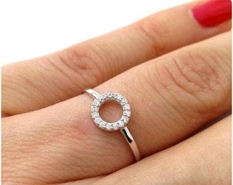 Round ring / ring circle / 925 solid silver ring / ring set zirkonias / silver sterling 925