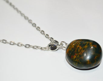 Bloodstone Necklace . Healing Bloodstone Necklace . Green Stone Necklace . Chakra Healing Bloodstone Necklace . Bloodstone Pendant