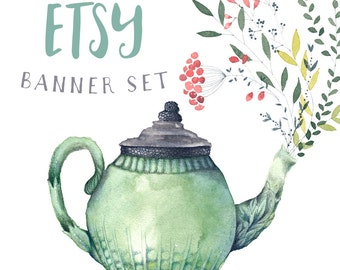 Etsy shop banner set teapot flowers new size cover photo image modern watercolor graphics teal pink large and small banner