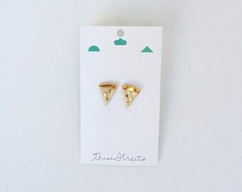 Golden Pizza Slice Earrings