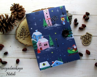 SALE50% Notebook handmade fabric cover, fabric cover notebook, Christmas gift, Personal diary.