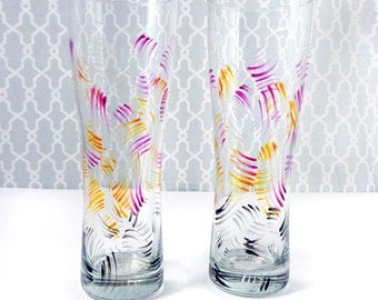 Set of 2 Hand Painted Pilsner Style Beer Glasses -- Pink Orange Brushstroke Pattern Beer Glass Drinking Glass