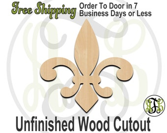 Fleur de Lis 1 - No. 300008- Cutout, unfinished, unpainted, wood craft, laser cut, wooden blank, DIY, Free Shipping