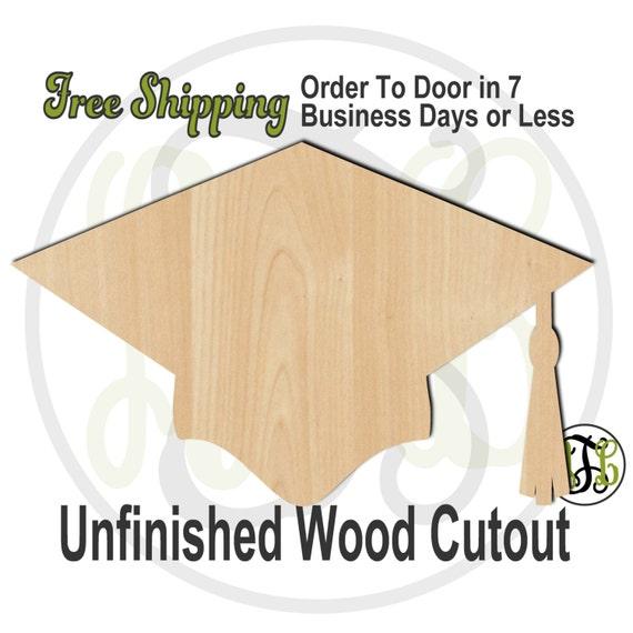 Graduation Hat - 24202- Celebration Cutout, unfinished, wood cutout, wood craft, laser cut shape, wood cut out, Door Hanger, Congrats