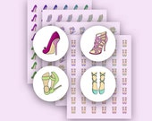 Printable Stickers - Hand drawn - 4 different ladies' shoes in 12 different hues [D161012-09]