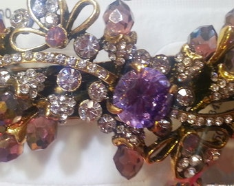 New Art Deco Antique Gold With Amethyst Crystal & Rhinestones Cluster 3 1/2'' Hair Barrette