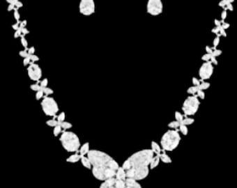 New CZ Butterfly Tear Drop  Crystal & Rhinestone Necklace and Pierced Earring Set