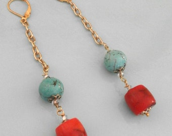 Golden drop earrings with turquoise pearl and coral bamboo