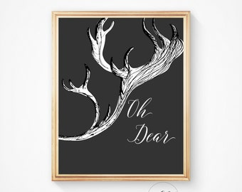 Deer antlers, deer head, animal print, deer prints, deer art, deer print, antler print, home decor, nursery art, art print, deer poster