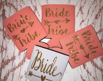 Bride Tribe Can cooler / bachelorette party favors / monogrammed / personalized / beverage huggie / I'm the bride / wedding gifts