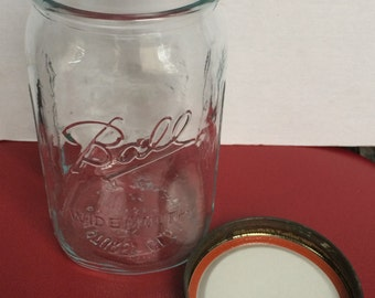 Vintage Large Ball Wide Mouth Genuine Sculptured Glass Mason Jar With Lid - Unused