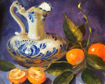 Portuguese Porcelain, SOLD 7x7 Original Oil on Board