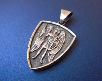 Saint St. Michael Archangel cross shield prayer medal sterling silver 925 pendant necklace